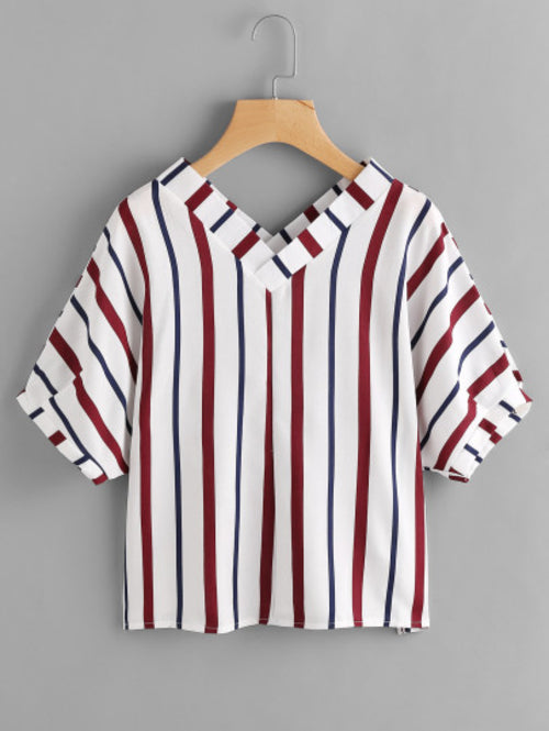 Double V Neckline Stripe Blouse
