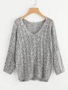 V Neckline Open Knit Sweater