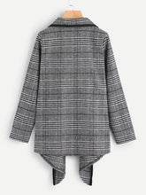 Load image into Gallery viewer, Tartan Plaid Waterfall Neck Jacket