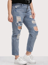 Load image into Gallery viewer, Plus Bleach Wash Distress Jeans