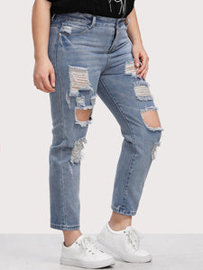 Plus Bleach Wash Distress Jeans