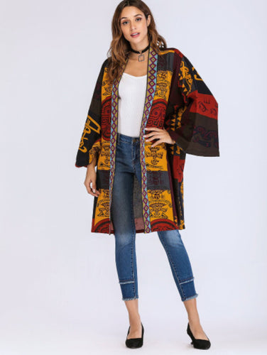 Graphic Print Open Front Coat