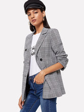 Load image into Gallery viewer, Double-breasted Plaid Blazer