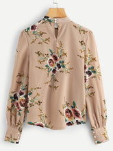 Load image into Gallery viewer, Bishop Sleeve Floral Print Blouse