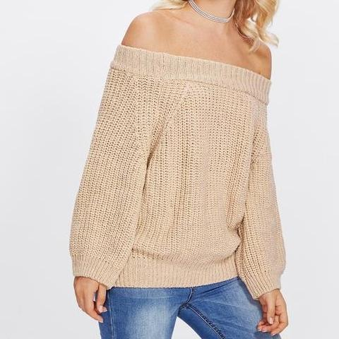Off The Shoulder Solid Jumper