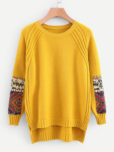 Contrast Patch High Low Sweater
