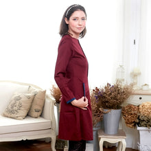 Load image into Gallery viewer, Burgundy & Navy Pocket A-Line Dress