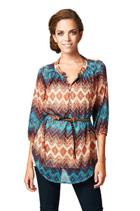 Women's Brown & Teal Geo Stripe Belted Top