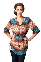 Load image into Gallery viewer, Women's Brown & Teal Geo Stripe Belted Top