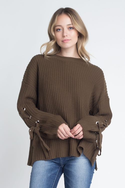 Women's Solid Bandage Sleeve Loose Pullover