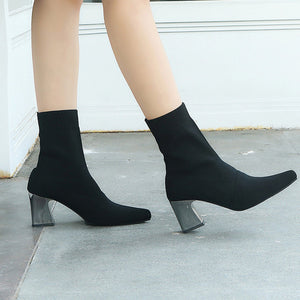 Slip-On Boots Female High Heel Snow Boots Women