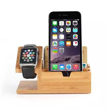 Load image into Gallery viewer, Bamboo Iphone & Iwatch Charge Holder