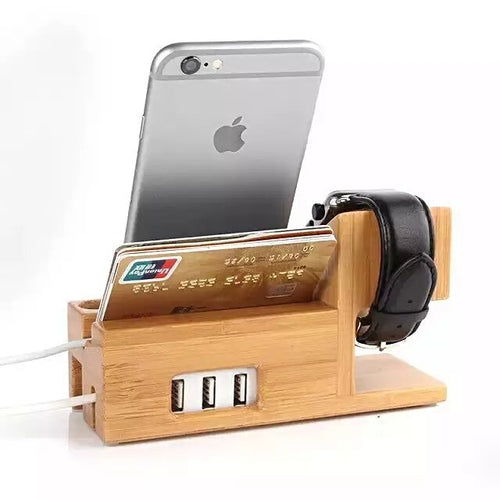 Bamboo Iphone & Iwatch Charge Holder