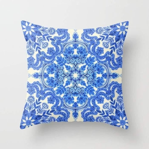 Cobalt Blue & China White Folk Art Throw Pillow Cover