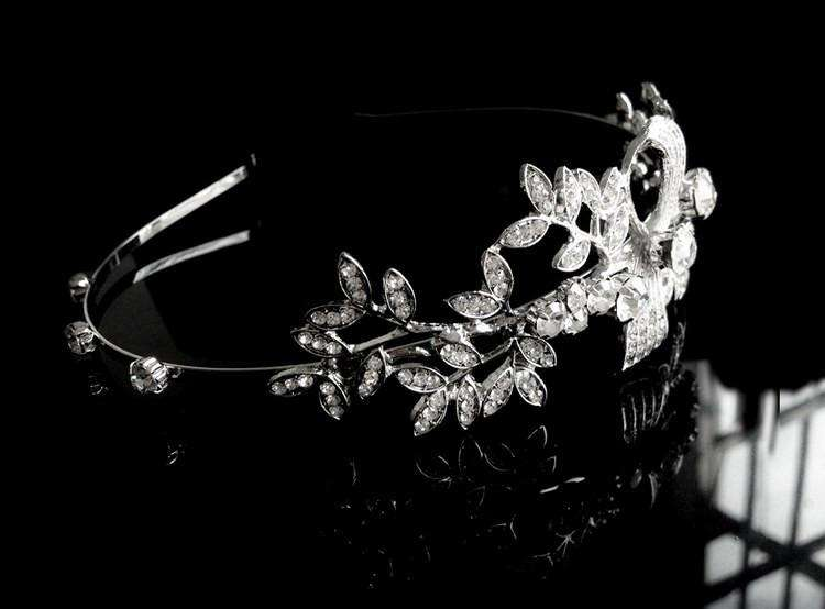 Crystal Floral Leaf Headband Bridal Wedding Headpiece