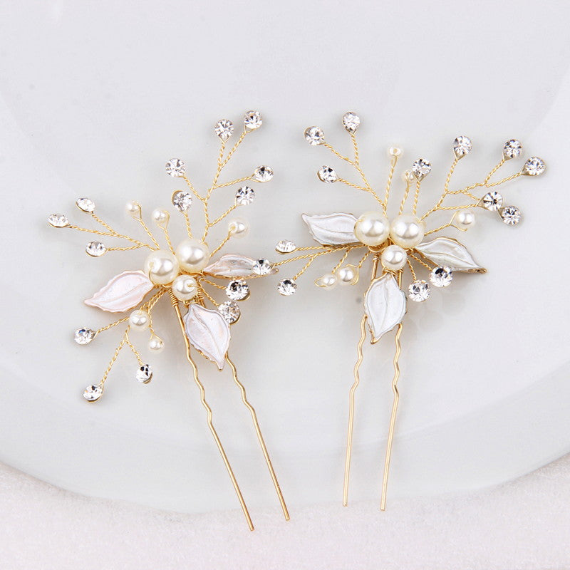 "Set of 2 Gold Flower Bridal Hair Pins For Bride - ""Cadloni"""