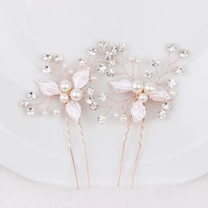 "Set of 2 Rose Gold Flower Bridal Hair Pins for Wedding - ""Tracy"""