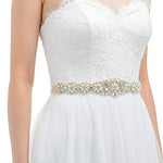 SILVER Rhinestone Pearl Wedding Dress Belt Bridal Sash - Joseph