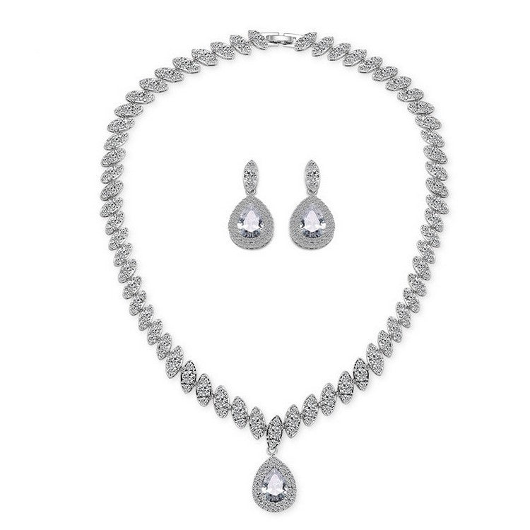 bridal teardrop jewelry set silver Teresa