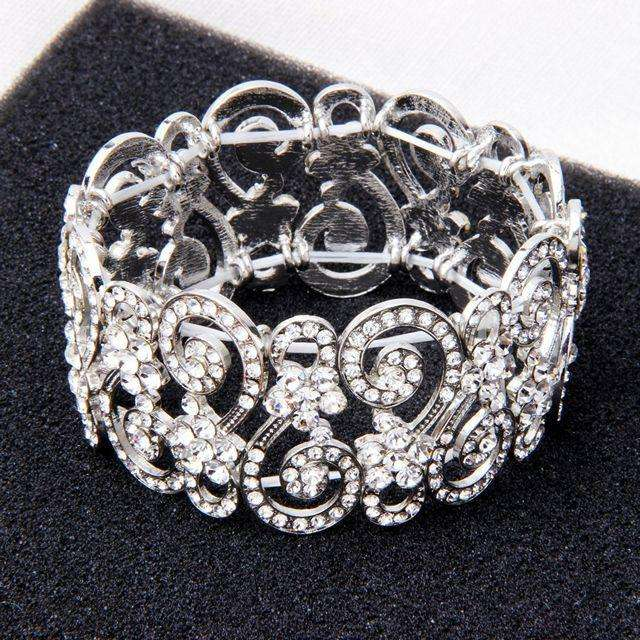 Crystal Women Elastic Wedding Bracelet Silver