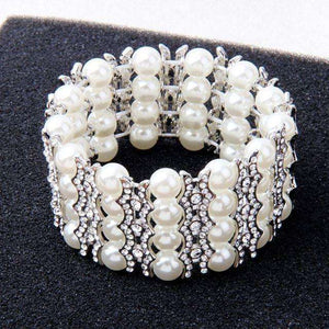 Crystal Pearl Elastic Bridal Bracelet Adjustable