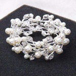 Pearl Crystal Stretch Wedding Bracelet Silver