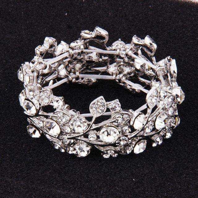 Silver Floral Crystal Stretch Bridal Bracelet