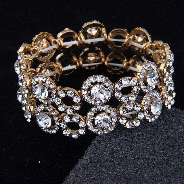 Diamante Gold Wedding Elastic Bridal Bracelet