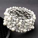 Ivory Pearl and Crystal Women Stretch Bridal Bracelet Vintage