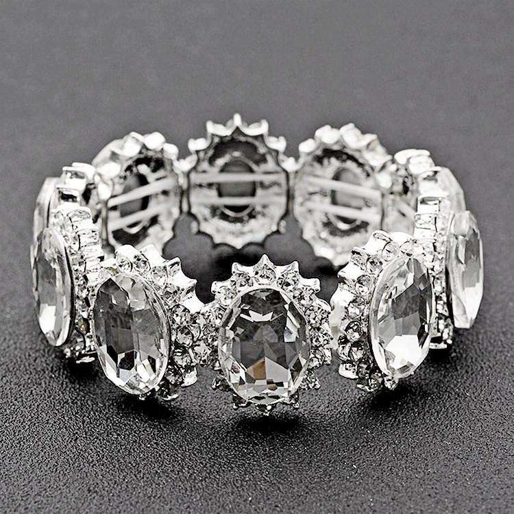 Oval Crystal Stretch Bridal Bracelet Simple Style