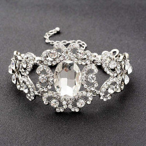 Art Deco Clear Crystal Bridal Stretch Bracelet  Silver