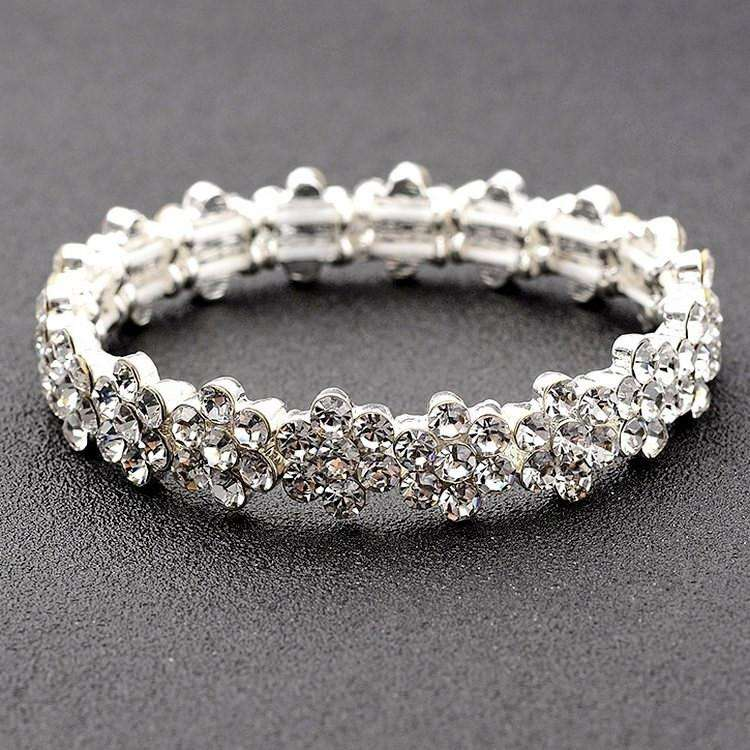 Stretch Bridal Bracelet Floral Simple Wedding Bangle