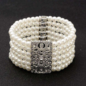 Pearl Stretch Vintage  Women Bracelet Art Deco Wedding Jewelry