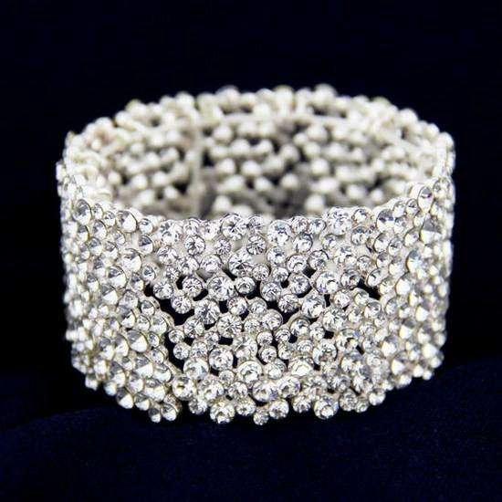 Crystal Pave Bangle Bridal Bracelet Stretch Proms Jewelry