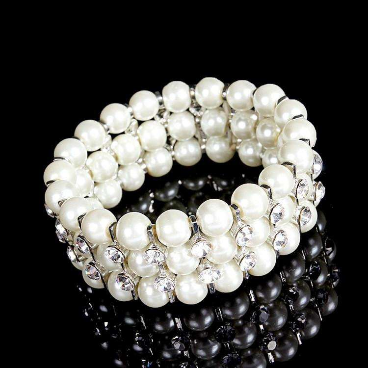 Three Row Paved Pearl Stretchable Wedding Bracelet