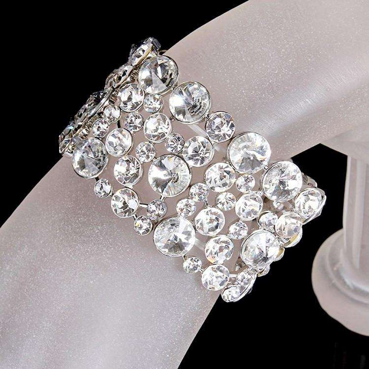 Vintage Paved Crystal Wedding Bracelet Stretch Bangle