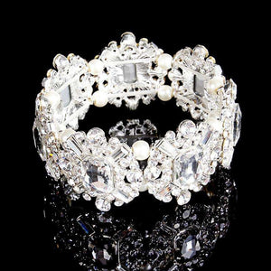 Women Crystal Bridal Bracelet Stretch Wedding Accessories