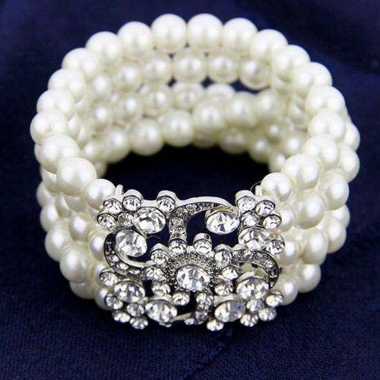 Strands Stretch Pearl Bridal Bracelet Fashion