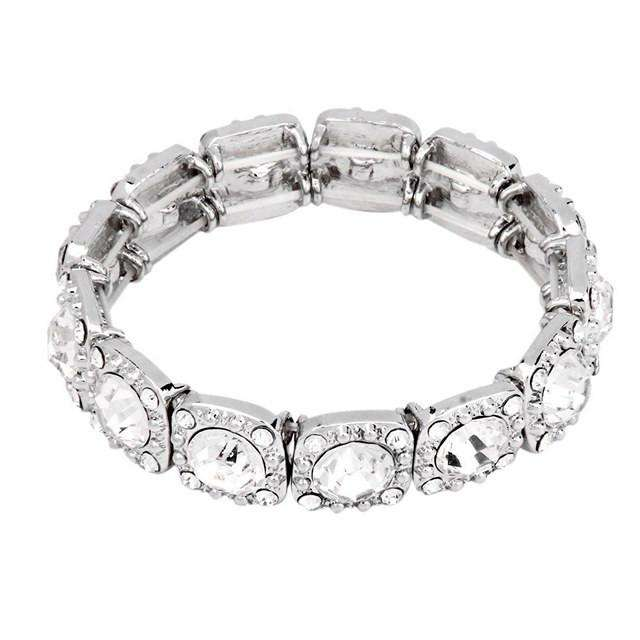 Simple Clear Crystal Stretch Bridal Bracelet Silver