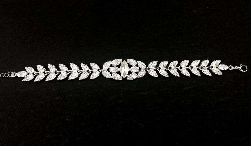 Rhinestone Silver Leaf Bridal Bracelet With Lobster Extender Chain