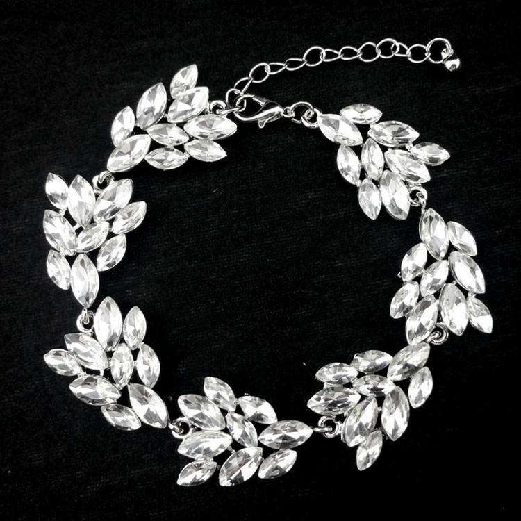 Crystal Bridal Bracelet Leaf Silver Lobster Extender Closure