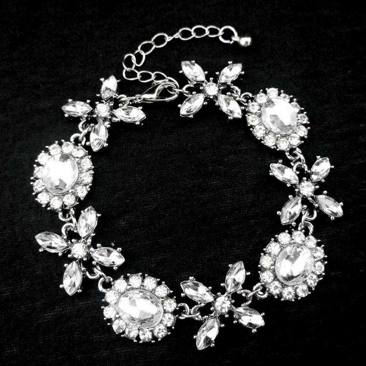 Vintage Crystal Wedding Bridal Bracelet With Chain Extender