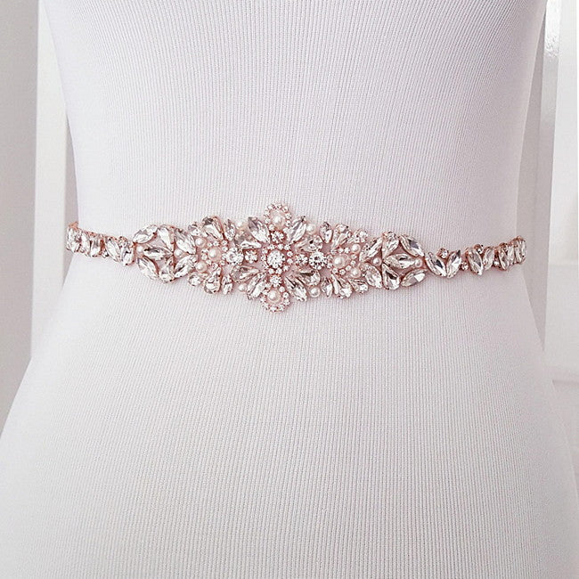 "Bridal Belt Rose Gold Skinny Crystal Wedding Sash - ""Isabel"""
