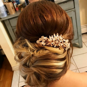 "Amazing Bridal Hair Comb Rose Gold for Wedding Pearl - ""Laura"""