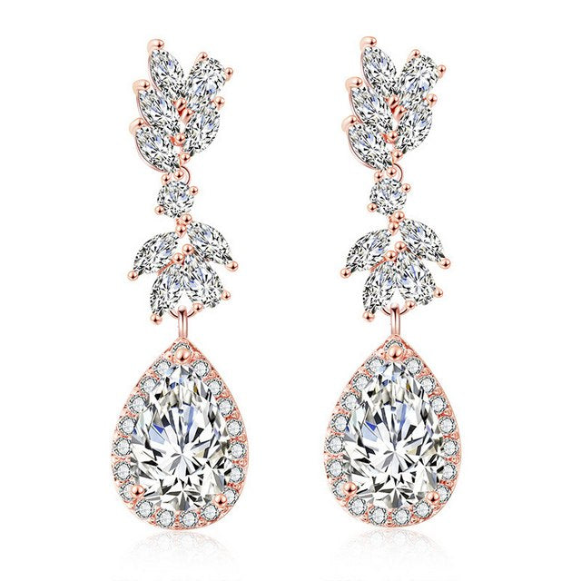 "bridesmaid earrings rose gold cz bridal earrings [3 colors] - ""Rebecca"""