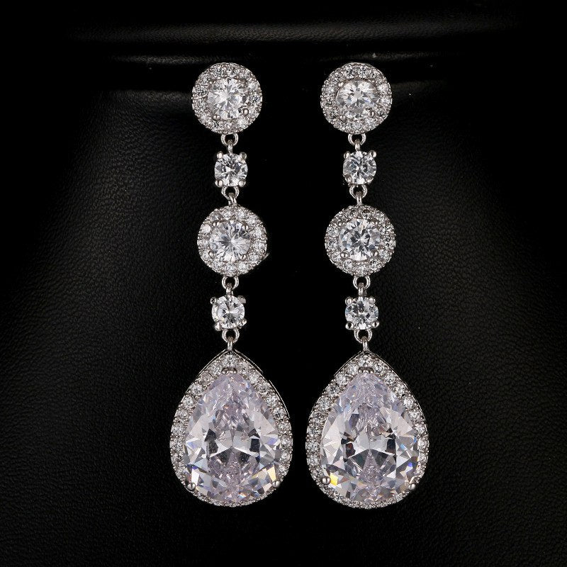 Bridesmaid Gifts CZ Bridal Earrings Teardrop silver bridal earrings