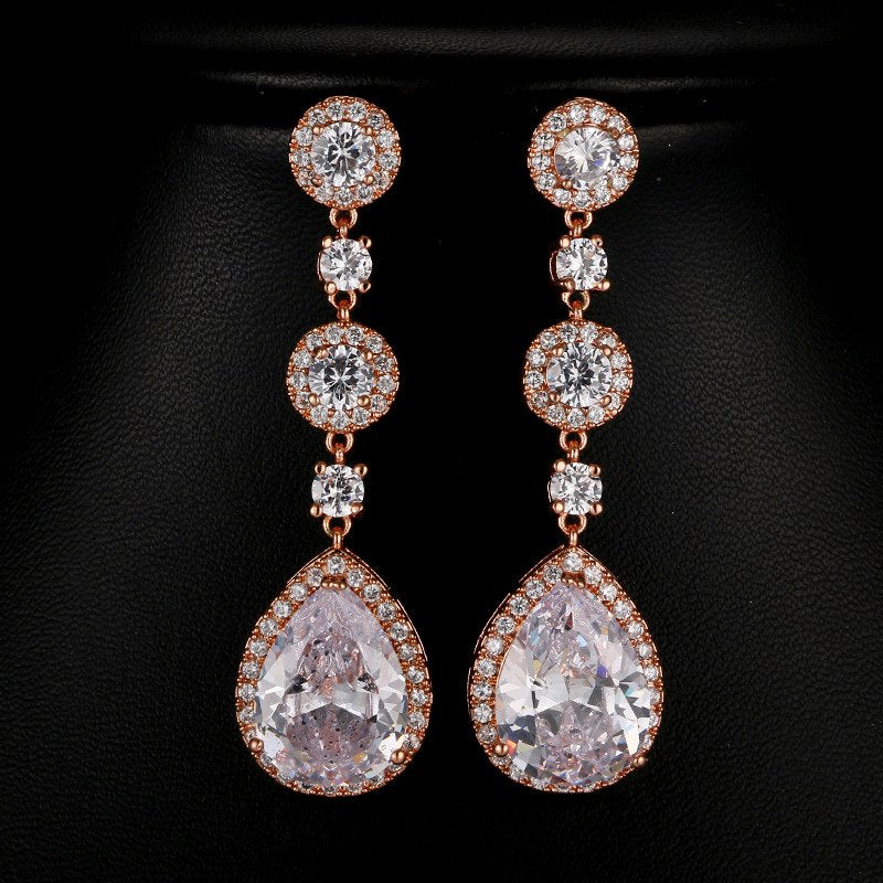 Bridesmaid Gifts CZ Bridal Earrings Teardrop rose gold