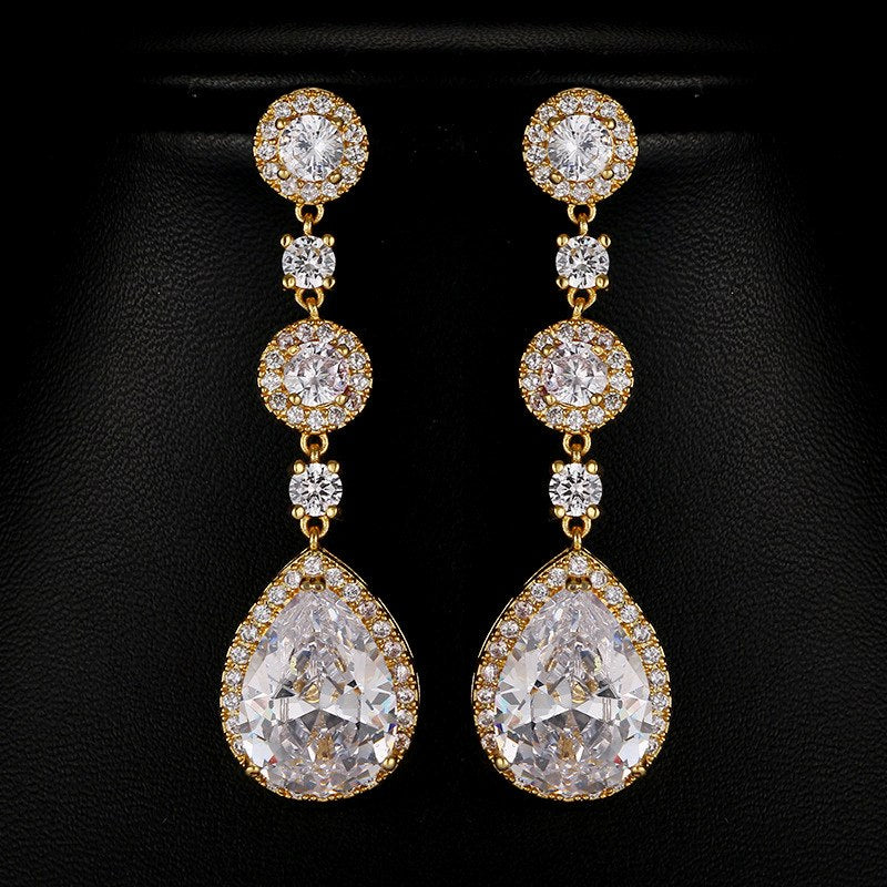 Bridesmaid Gifts CZ Bridal Earrings Teardrop yellow gold earrings