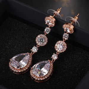 "Bridesmaid Gifts CZ Bridal Earrings Teardrop [3 colors] - ""Friedrich"""