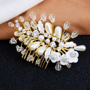 Pearl and Crystal Bridal Hair Comb Leaf